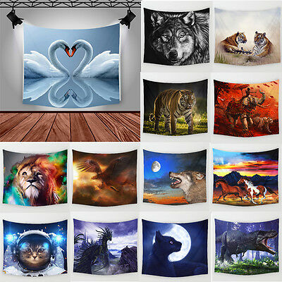 Cute Animals Polyester Beach Towel Hanging Tapestry Picnic Mat Home Decor