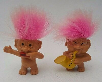 2x Vintage Weetos Troll Doll Pink Hair Saxophone & Harmonica Player Pencil Top