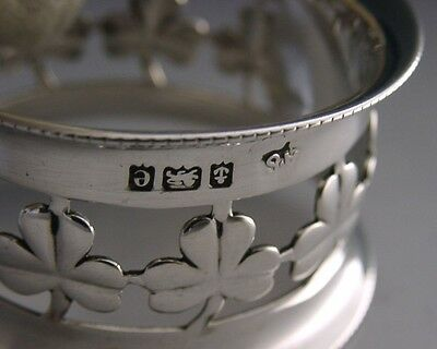 Beautiful English Sterling Silver Irish Shamrock Napkin Ring 1904 Antique