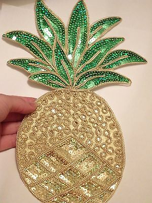 extra large sequin patches large pineapple  patch applique iron on sew motif UK