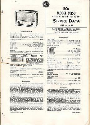 RCA model 9Q53 chassis RC-614-Mfr N.274 from 1949 Instruction book copy 8 pages