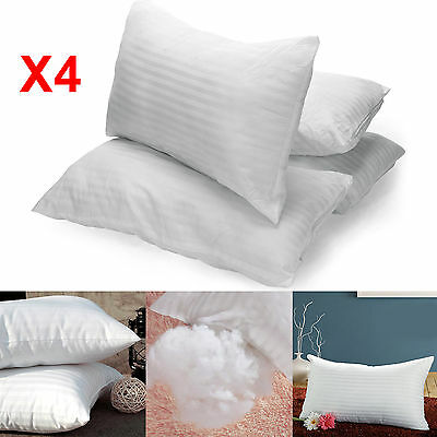 4 X Luxury Super Bounce Back Fibre Comfortable Pillow Filling Bed Hotel Pillows