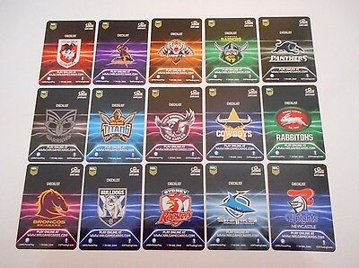 15 x 2017 NRL XTREME CHECKLIST RUGBY LEAGUE GAME CARDS.-FREE POST