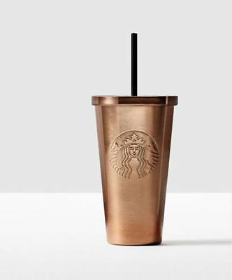 NEW Starbucks Stainless Steel Cold Cup Copper 16 Oz Tumbler Mug