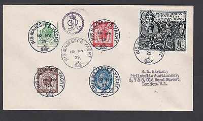 1929 Postal Union Congress:1/2d to £1.00: 'H M YACHT' FDC: Very Rare: FORGERY