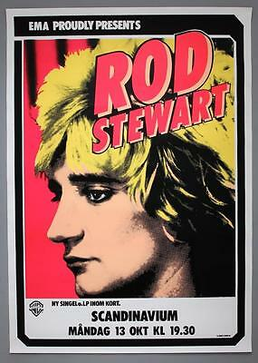 ROD STEWART - mega rare original Sweden 1980 FOOLISH BEHAVIOUR concert poster