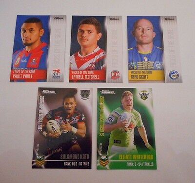 5 x 2017 NRL TRADERS RUGBY LEAGUE TRADING CARDS-FREE POST