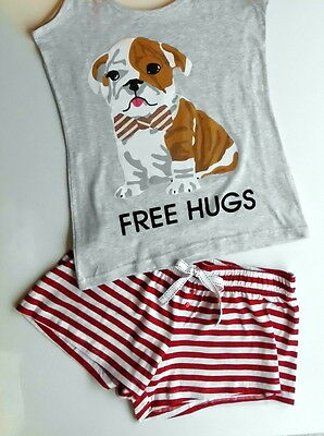 Primark Pyjama french Bulldog Frenchie NEU Schlafanzug Sommer Sleep Shorty 38/40