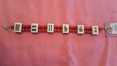 Red Miracle Bead and Mahjong Bracelet Handmade