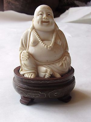 Carve Antique Chinese Japan Buddha Statue Okimono Netsuke Signed Solid Silver