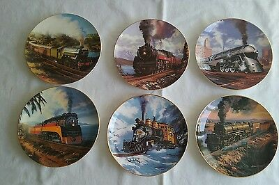 COllECTABLE TRAIN PLATES 6 FRANKLIN MINT