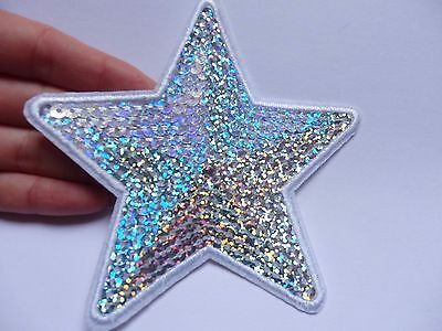 large sequin patches star silver patch applique iron on sew motif badge hotfix