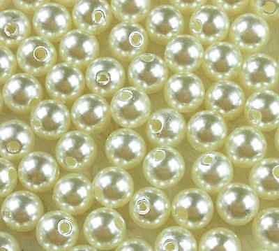 New 200Pcs Cream Acrylic Round Pearl Spacer Loose Beads 6mm