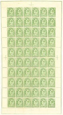 Turks & Caicos Is 1909 1/2d Yellow-Green SG117 Fine MNH Complete Sheet of 60