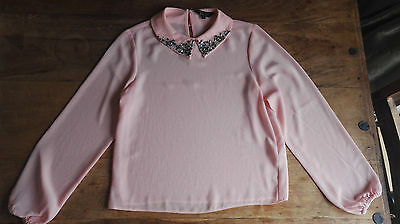 Girls age 10 pink/peach jewelled collar blouse BNWOT