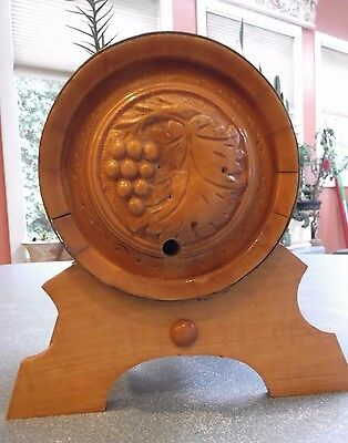 Vintage Barware Carved Wood & Brass Wine Keg W/ Carved Stand Grape Leaf Design
