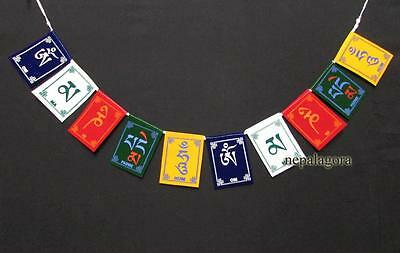 PF90 Tibetan Om Mani Padme Hum Mantra Medium Velvet prayer flags lungta Nepal
