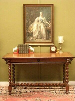 ANTIQUE FRENCH OAK 2 DRAWER BARLEY TWIST DESK / CENTRE or DINING TABLE  c1890s