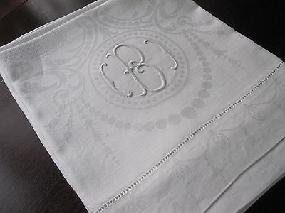 Pr Edwardian Antique White Damask Huck Linen Hand Kitchen Dish Towels Monogram B