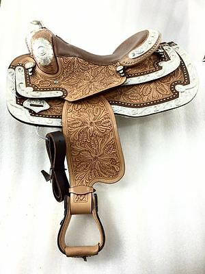 "Western Show Reining 16"" Leather Saddle"