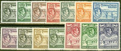 Turks & Caicos Is 1938-45 set of 14 SG194-205 Very Lightly Mtd Mint  (2s MNH)