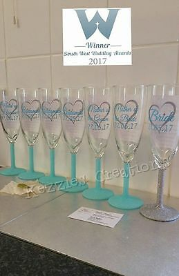 Personalised heart design glitter wedding champagne glasses bride bridesmaid etc