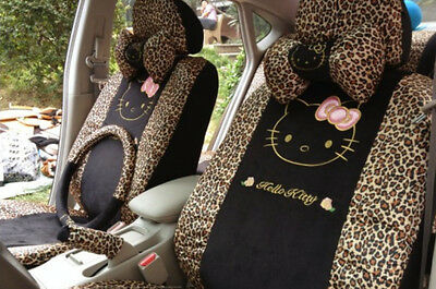 Car Seat Covers Leopard Hello Kitty Cartoon Universal Car Interior 18 Pieces