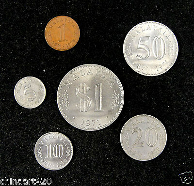 Malaysia coins set of 6 pieces 1971 and 1973
