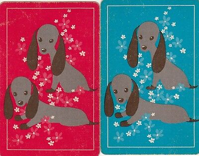 DOGS Retro Puppies Dachsunds 1970'S PR SINGLE GENUINE VINTAGE Swap Playing Cards