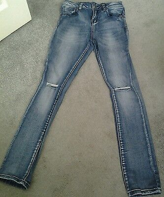 "Girls ""New Look"" skinny ripped knee jeans age 13 years"
