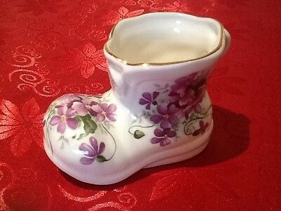 Royal Albert Bone China February Violets  Ornamental Baby Boot Rare Collectable