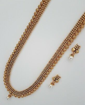 Indian jewellery traditional vintage long flat haar necklace set imitation gold