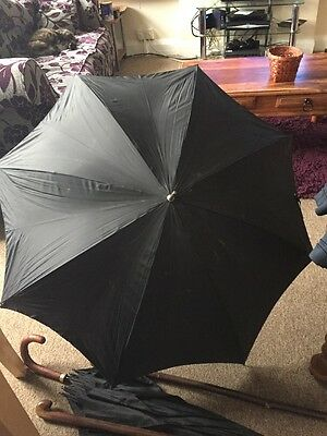 Vintage St Michael's Ladies Umbrella. Rattan Wrapped Handle Metal Ferrule