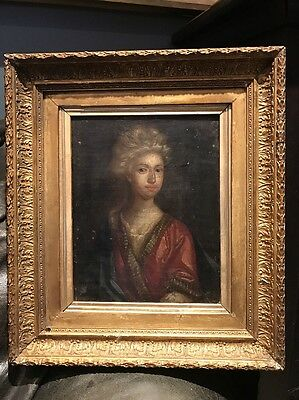 Small Antique 17th Century Oil Portrait Painting Of A Young Lady