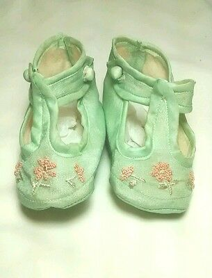 Vintage Organdy Satin Embroidered Baby or Doll Soft Shoes