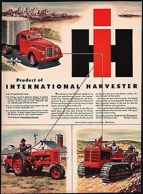 Vintage magazine ad IH INTERNATIONAL HARVESTER 1946 Farmall H tractor pictured