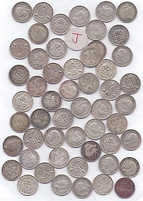 53 COINS- GEORGE V SILVER THREEPENCE POST 1919 (73.4g)