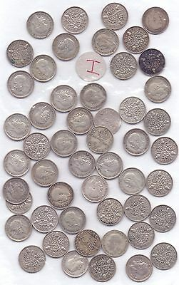 51 COINS- GEORGE V SILVER THREEPENCE POST 1919 (70.8g)