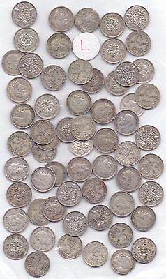 61 COINS- GEORGE V SILVER THREEPENCE POST 1919 (83.9g)