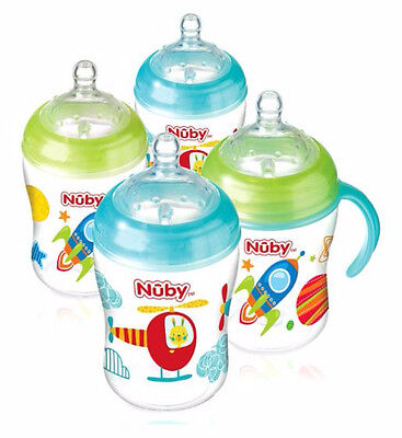 Nuby Natural Touch Baby Bottle 270ml 4 Pack Blue