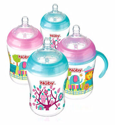 Nuby Natural Touch Baby Bottle 270ml 4 Pack Pink