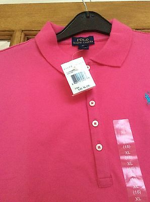 """BNWT GIRLS AUTHENTIC """"RALPH LAUREN"""" PINK SHORT SLEEVED POLO SHIRT. AGE 16 Years"""