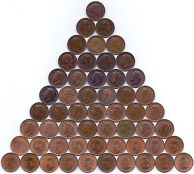 55 COINS- 1902-1956 COMPLETE SET 20TH CENTURY FARTHINGS (high grade) consecutive