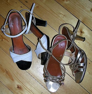 VINT. 50s PAIR OF MADMEN CUBAN HEELED STRAPPY SHOES (GOLD & BLACK) by HILDA'S /5