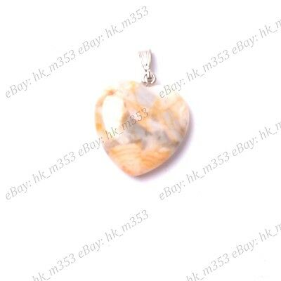 2Pcs Crazy Lace Agate Gemstones Heart Reiki Chakra Pendants Necklaces  Earrings