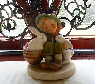 VINTAGE GOEBEL HUMMEL  ' PLAYMATES ' BOY WITH RABBITS 1950's PERFECT