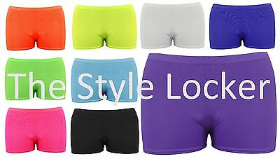 Childrens Girls Lycra Stretch Hot Pants Shorts Gymnastic Cheer Dance Group Neon
