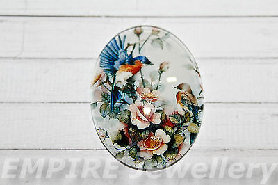 1 x Vintage Birds & Flowers 40x30mm Oval Glass Dome Cabochon Cameo Bird Finch