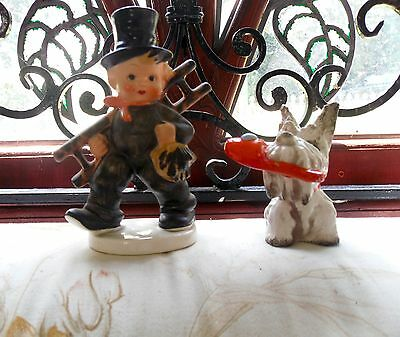 Vintage Goebel Hummel  ' Chimney Sweep And Scottie Dog With Slipper In Mouth