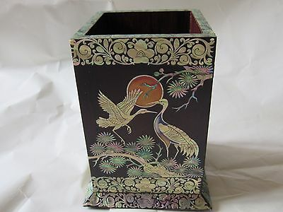Stunning Vintage Oriental Chinese Japanese Brush Pen Pot Mother of Pearl Cranes